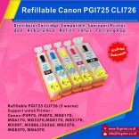 Cartridge Refillable Canon PGI725 CLI726 CANON IP4970 IP4870 IP6550 IX6560 MG5170 MG5270 MX886