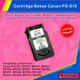 Cartridge Bekas Canon PG-810 PG810 810 Black, Tinta Printer Canon IP2770 MP237 MP245 MP258 MP276 MP287 MP486 MP496 MP497 MX328 MX338 MX347 MX357 MX366 MX416 MX426