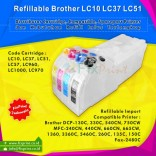 Cartridge Refillable MCISS Brother DCP-130C DCP-330C DCP-540CN DCP-750CW Fax-2480C MFC-240CN MFC-440CN MFC-660CN MFC-665CW MFC-1360 MFC-3360C MFC-5460C MFC-260C MFC-135C MFC-150C, LC10 LC37 LC51 LC57 LC960 LC1000 LC970
